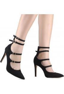 f1e38c4d13797 Betisa. Sapato Feminino Com Salto Preto Bico Fino Conforto Fivela Nobuck  Scarpin ...