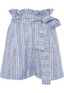 Short Feminino Listrado Clochard - Azul