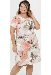Vestido Feminino Estampa Tropical Plus Size Manga Curta