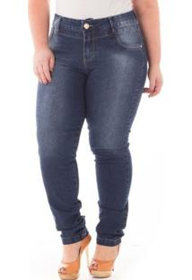 Calça Confidencial Extra Plus Size Jeans Cintura Alta Feminina - Feminino-Azul Escuro
