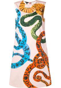 Escada Vestido Com Estampa De Pele De Cobra - Rosa