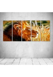 Quadro Decorativo - King Lion Neon - Composto De 5 Quadros