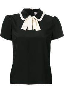 Red Valentino Striped Bow Blouse - Preto