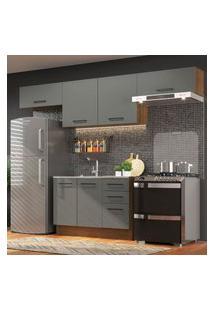 Cozinha Compacta Madesa Agata 280002 Com Armário E Balcáo - Rustic/Cinza Cinza