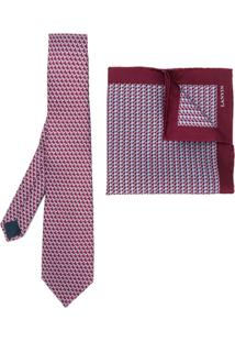 Lanvin Conjunto Gravata E Lenço De Bolso - Vermelho
