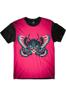 Camiseta Bsc Butterfly Wings Sublimada Preto/Rosa