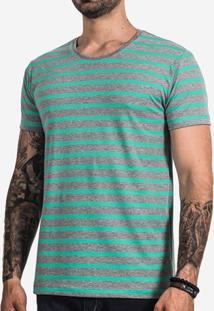 Camiseta Listrada Turquesa E Mescla 101646