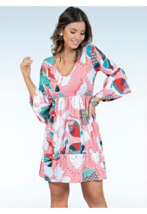 Vestido Tropical Rosê Com Franzidos