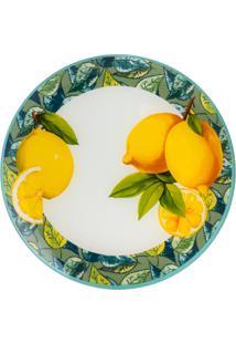 Conjunto 4 Pratos Rasos De Vidro 25Cm – Linha Lemons Amarelo