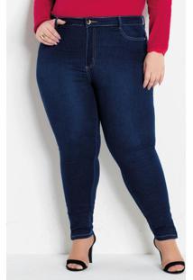 Calça Cigarrete Jeans Plus Size Com Zíper