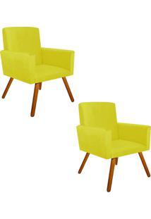 Kit 02 Poltrona Decorativa Nina Suede Amarelo Com Encosto Alto - D'Rossi - Amarelo - Dafiti