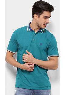 Camisa Polo Cavalera Básica Listras Masculina - Masculino-Verde Claro