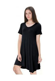 Vestido Casual Manga Curta - Preto