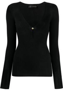 Versace Suéter Com Botões Medusa - Preto