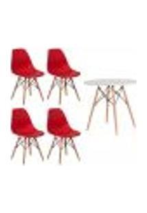 Conjunto Kit 4 Cadeiras Eiffel Eames Vermelha + 1 Mesa Eames 80Cm Branca Base Madeira Sala Cozinha