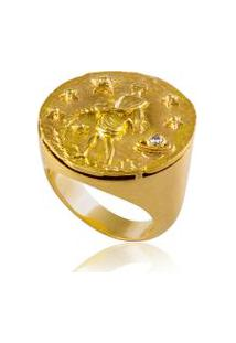 Anel Zodiaco Aquario Amarelo C/ Ametista Violet E Diam.Ttlb - 17
