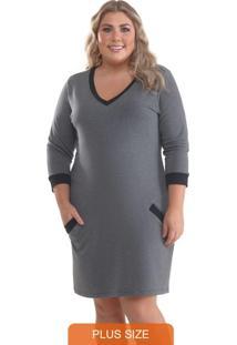 Vestido Plus Size Moletinho Mescla Escuro