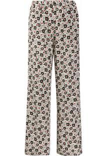Aspesi Calça Com Estampa Floral De Seda - Branco
