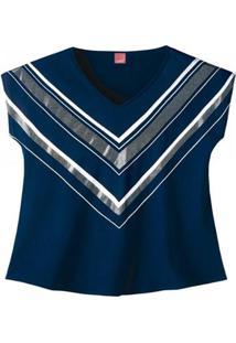 Blusa Meia Malha Wee! Plus Size - Feminino-Marinho