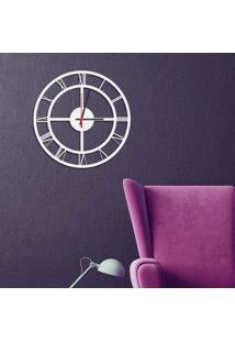 Relógio De Parede Decorativo Premium Números Romanos Vazado Branco Médio