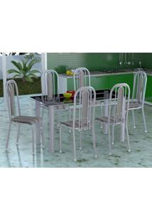 Conjunto De Mesa Com 6 Cadeiras Granada Prata E Preto Listrado Vd