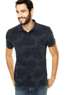 Camisa Polo Richards Estampada Azul Marinho