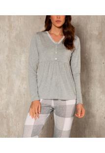Pijama Longo Peitilho Xadrez Abotoável Laibel Inverno Ad (15.800998) Poliviscose - Mescla, Estampado/Multicolorido, Eg