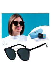 Oculos Sol Polarizado Quadrado Grande Retro Isabela Dias Preto