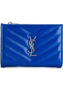 Saint Laurent Carteira Com Placa Monogramada - Azul