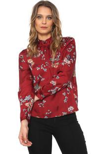 Camisa Only Floral Vinho