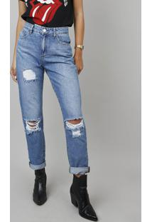 819ddbba5 Calça Jeans Feminina Mom Destroyed Azul Médio