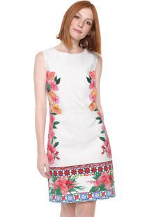 Vestido Desigual Curto Floral Branco/Rosa