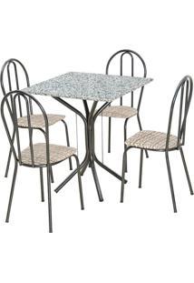 Conjunto De Mesa Thais Com 4 Cadeiras Craqueado Preto Rattan