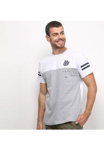 Camiseta Industrie Básica Especial Bicolor Masculina - Masculino-Branco