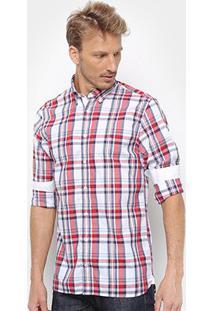Camisa Xadrez Tommy Hilfiger Masculina - Masculino-Branco+Vermelho