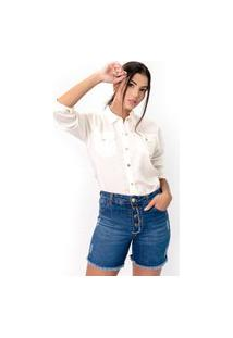 Bermuda Sisal Jeans Meia Coxa Botões Externos Azul