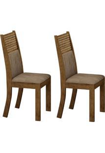 Conjunto Com 2 Cadeiras Havaí Ipê E Animale Capuccino