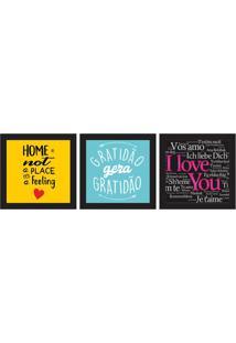 Conjunto Com 3 Quadros Decorativos Liebe Colorido
