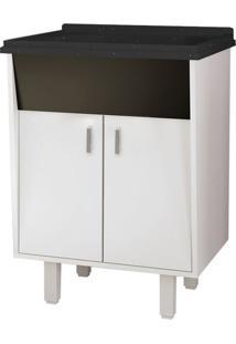 Gabinete Para Lavanderia Em Mdf 60Cm Com Tanque Em Mármore Sintético Preto - Lavanda - Cozimax - Cozimax