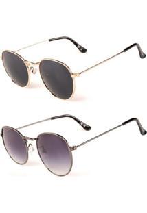 Promoção Kit 2 Óculos De Sol Femininos Prorider Redondo Dourado E Grafite - Kittitania6F