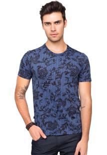 Camiseta Tony Menswear Estampa Folhagem 100% Algodão Azul