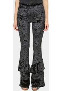 Calça Gup'S Jeans Veludo Babado Barra - Feminino