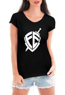 Blusa Criativa Urbana Escudo Fé Religiosat-Shirt Feminina - Feminino-Preto