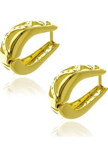 Brinco De Argola Vazada Modelo Anzol Banhado Em Ouro 18K