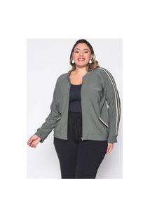 Jaqueta Almaria Plus Size Sinap Lisa Verde