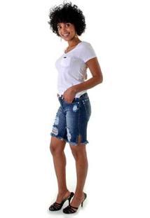 Bermuda Jeans Opera Rock Rasgos Puídos Feminina - Feminino-Azul