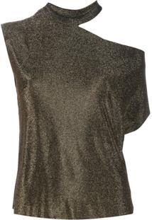 Rta Blusa Assimétrica Um Ombro Só - Dourado