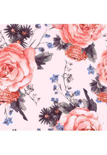 Papel De Parede Adesivo Flores Fundo Rosa