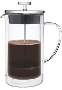 Cafeteira Francesa 420Ml De Vidro Com Parede Dupla, Prensa E Tampa De Aço Inox Dispensa Uso De Energia Elétrica Tramontina