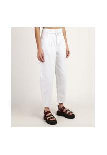 Calça De Sarja Feminina Baggy Cintura Super Alta Com Cinto Branca